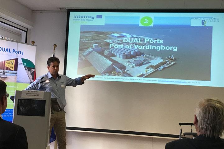 Jan-Jaap Cramer presenting eco-innovation in the Port of Vordingborg.