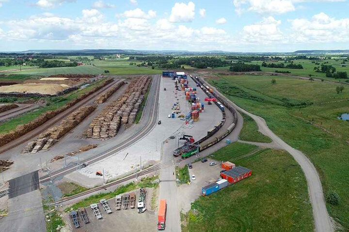Aerial shot of the dryport in Skaraborg, today a logistics hot spot of Sweden
