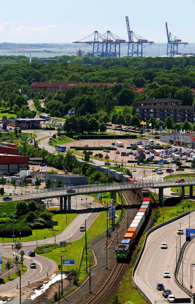 Cargo train travelling inland from the Port of Gothenburg.